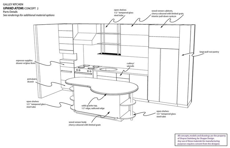 3D line drawing with accessories for kitchen
