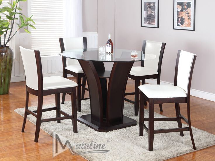 Enclave Cream Table + 4 Chairs 22110-22140 Mainline Inc Counter Height Dining Sets at comfyco.com furniture store