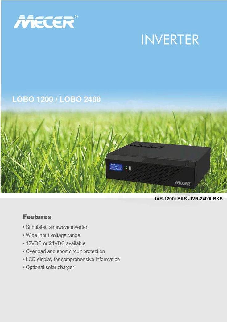 Mecer 1200VA, 720W, 12V DC-AC Inverter with LCD Display and Socket for Solar…