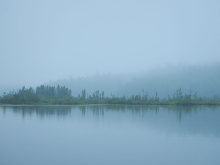 Foggy evening falls. Central Maine lake.