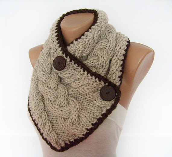 Chunky Button Scarf, Cable Knit Neck Warmer, Oatmeal Cowl, Hand Knitted, Mens, Womens, Winter Accessories. $39.00, via Etsy.