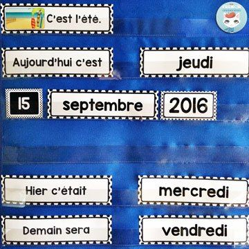 """French Classroom Decor Polka Dots: calendar set (days of the week, months, days 1-31, years 2016-2021, etc). A beautifully-decorated French classroom with little to no color ink use! Two calendar versions: for pocket charts (pictured) and to be used with velcro or magnetic strips (not pictured). Includes """"les saisons"""""""