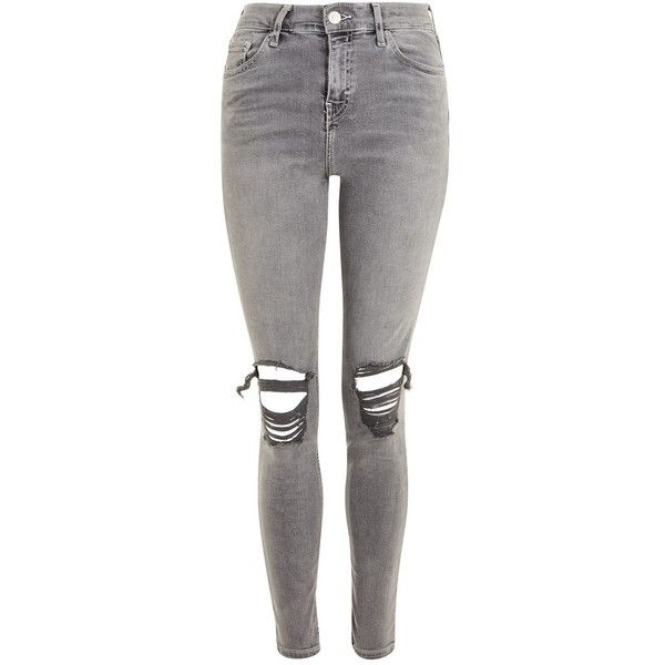 Topshop Moto Grey Ripped Jamie Jeans ($55) ❤ liked on Polyvore featuring jeans, grey, distressed skinny jeans, high-waisted skinny jeans, ripped jeans, high waisted ripped skinny jeans and high waisted jeans