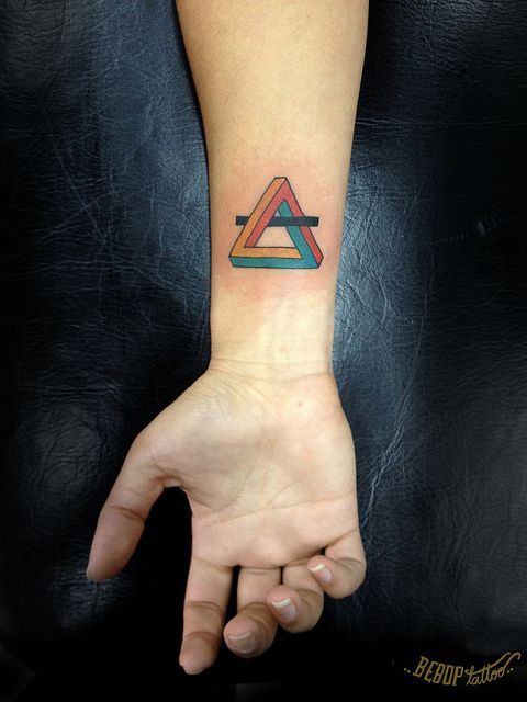 Infinity triangle tattoo. Triangles are the mathmatical symbol for change.