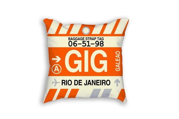 GIG Rio de Janeiro Airport Code Baggage Tag Pillow