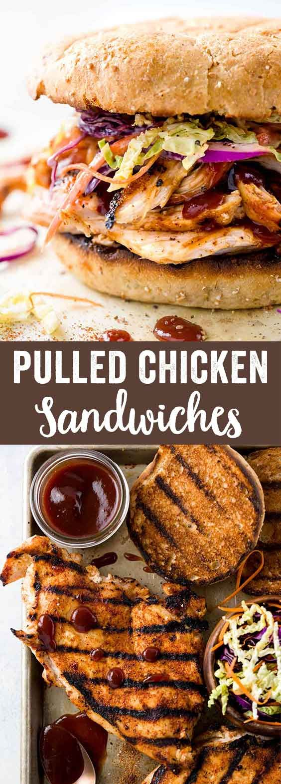 Pulled chicken sandwiches with crunchy homemade coleslaw is an easy grilled recipe. Tender white meat tossed in a tangy barbecue sauce and served on a toasted bun for the ultimate handheld meal! via @foodiegavin