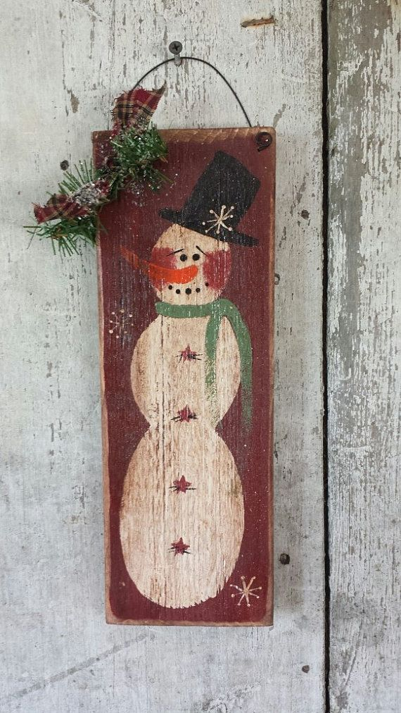 Snowman on Barn Board - Sign