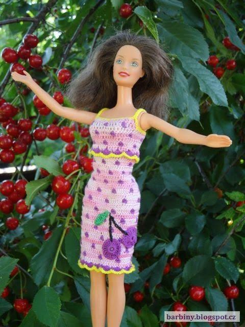 Háčkování pro Barbie: Ovocná Barbie - višňová
