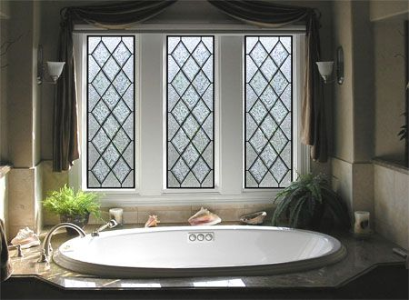 Diamond Shaped Stained Glass Bathroom Window Provides Privacy While Not Blocking Natural Light