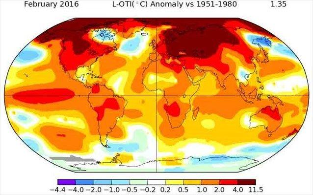 Άνευ προηγουμένου η αύξηση της θερμοκρασίας τον Φεβρουάριο