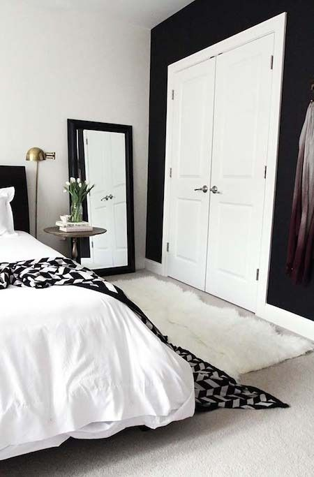 1 black wall, white trim. From Lackluster to Lovely: Joy's Bedroom Makeover