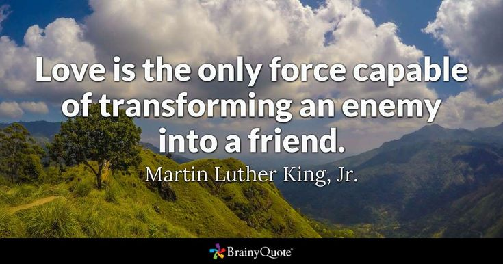 Love is the only force capable of transforming an enemy into a friend. - Martin ...