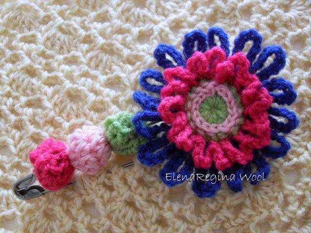ElenaRegina wool: Spillone con fiore rosa del deserto