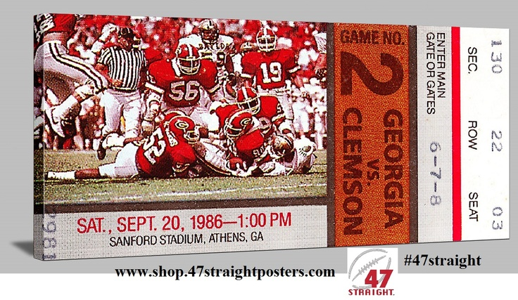 Football art. College football art. Available soon. 1986 Clemson vs. Georgia football ticket art on canvas. Great Father's Day Gift Idea for Georgia Bulldog fans. Football art made from an authentic 1986 Georgia football ticket. #47straight Best Father's Day Gifts on Pinterest. Father's Day Gift Ideas Pinterest. Our Canvas Football Tickets™ are perfect for game rooms and offices. #Georgia #bulldogs #collegefootball #tickets