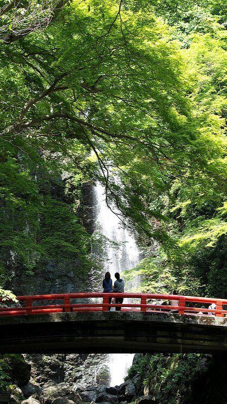 Minoh waterfall in Osaka, Japan (by k n u l p on Flickr)