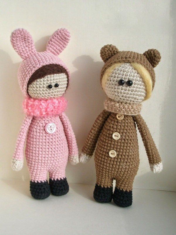 Dolls wearing animal costumes - FREE crochet pattern