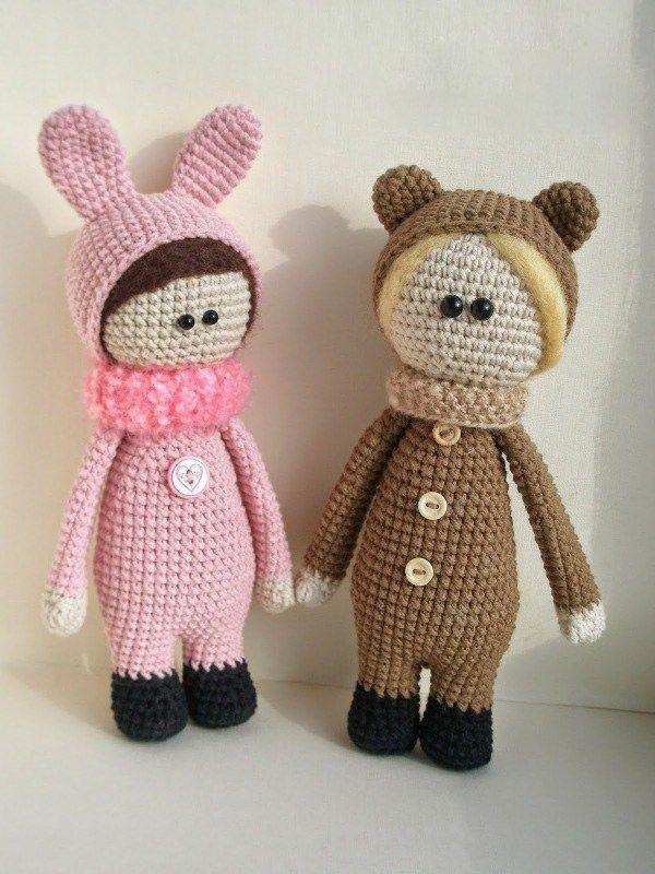 Dolls wearing animal costumes - FREE crochet pattern