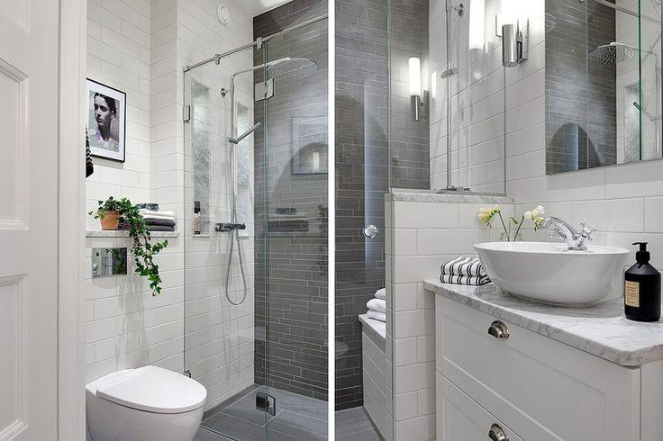 Stockholm Vitt - Carrara Marble Bathroom. Grey tiles. Double showers. Subway tiles. Design: Signe Nordström