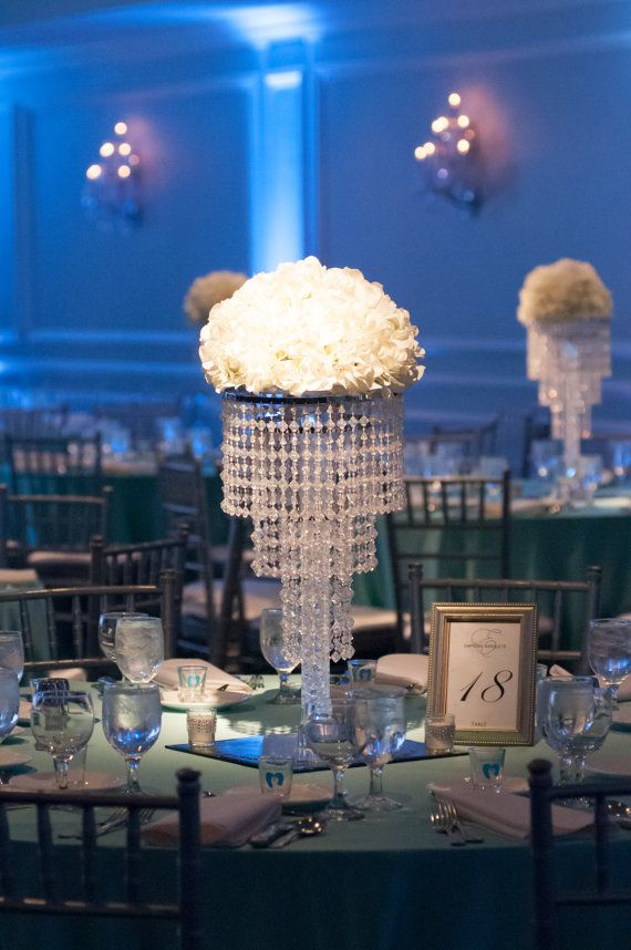 Glamorous Madison Chandelier Centerpiece with Riser Wedding & Special Occasion Centerpiece  This beautiful acrylic beaded chandelier looks like
