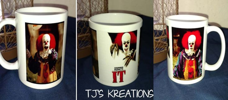 Creepy scary Stephen Kings IT clown mug by JenningsKreations on Etsy