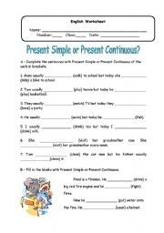 English Worksheet Present Simple Or Present Continuous English