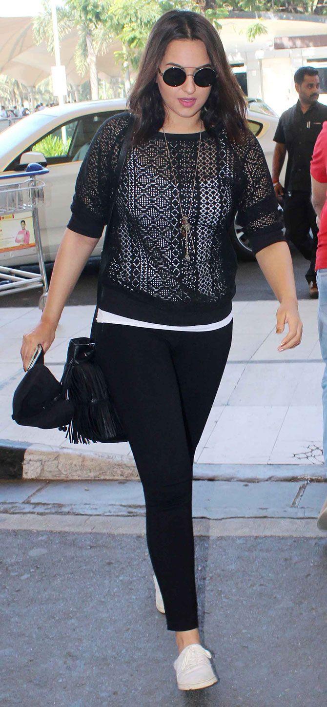 Sonakshi Sinha at Mumbai airport. #Bollywood #Fashion #Style #Beauty #Hot