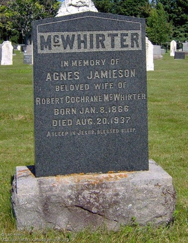 QC: St Andrew's United Church Cemetery (Robert Cochrane McWHIRTER), CanadaGenWeb's Cemetery Project