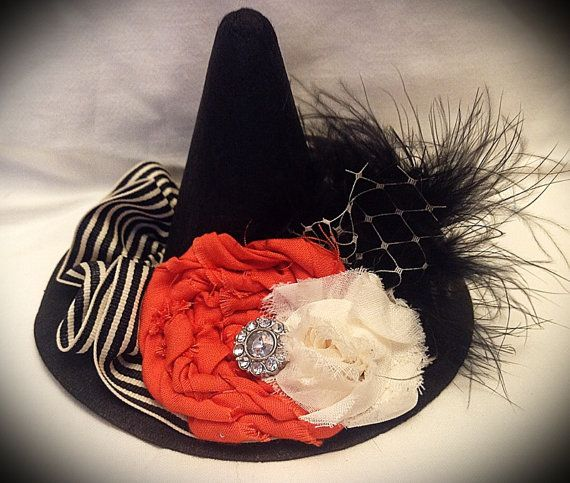 Mini Witch Hat with Shabby Chic Halloween Decor on Etsy, $18.00