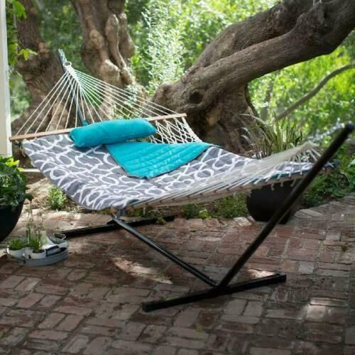 Algoma 11 Ft Cotton Rope Hammock With Metal Stand Deluxe Set Navy Teal New In 2020 Outdoor Hammock Backyard Hammock Hammock Stand