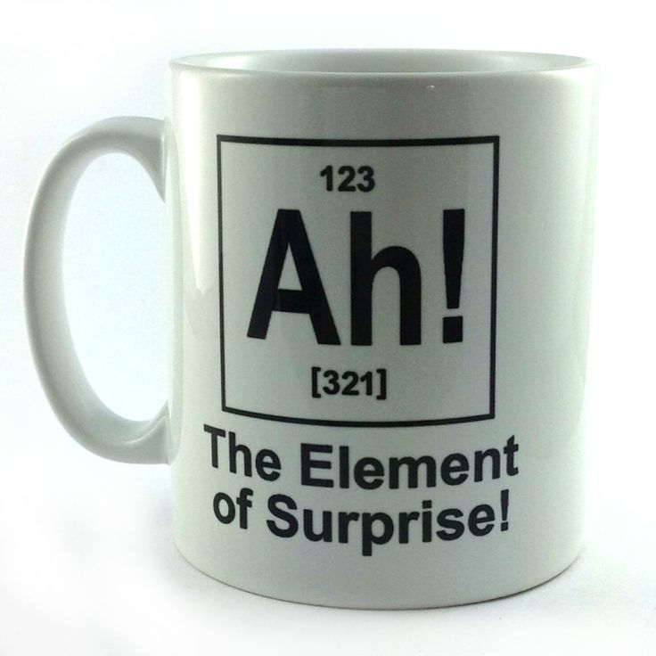 AH! ELEMENT OF SURPRISE GIFT CUP MUG PRESENT SCIENCE TEACHER STUDENT CHEMISTRY