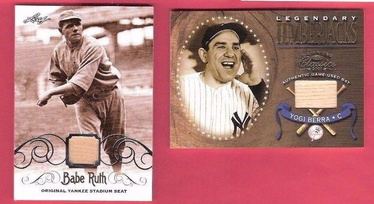 15 BABE RUTH ORIGINAL YANKEE STADIUM SEAT PIECE  YOGI BERRA GAME USED BAT CARD