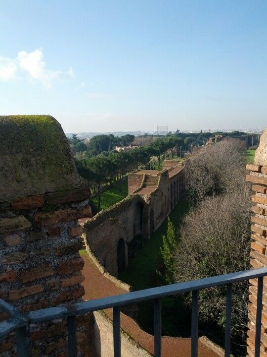 View of the Aurelianic wall from the top of Porta Appia (Museum of the Walls)