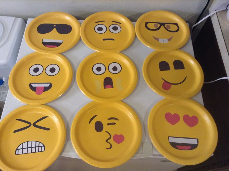 Emoji faces made on paper plate