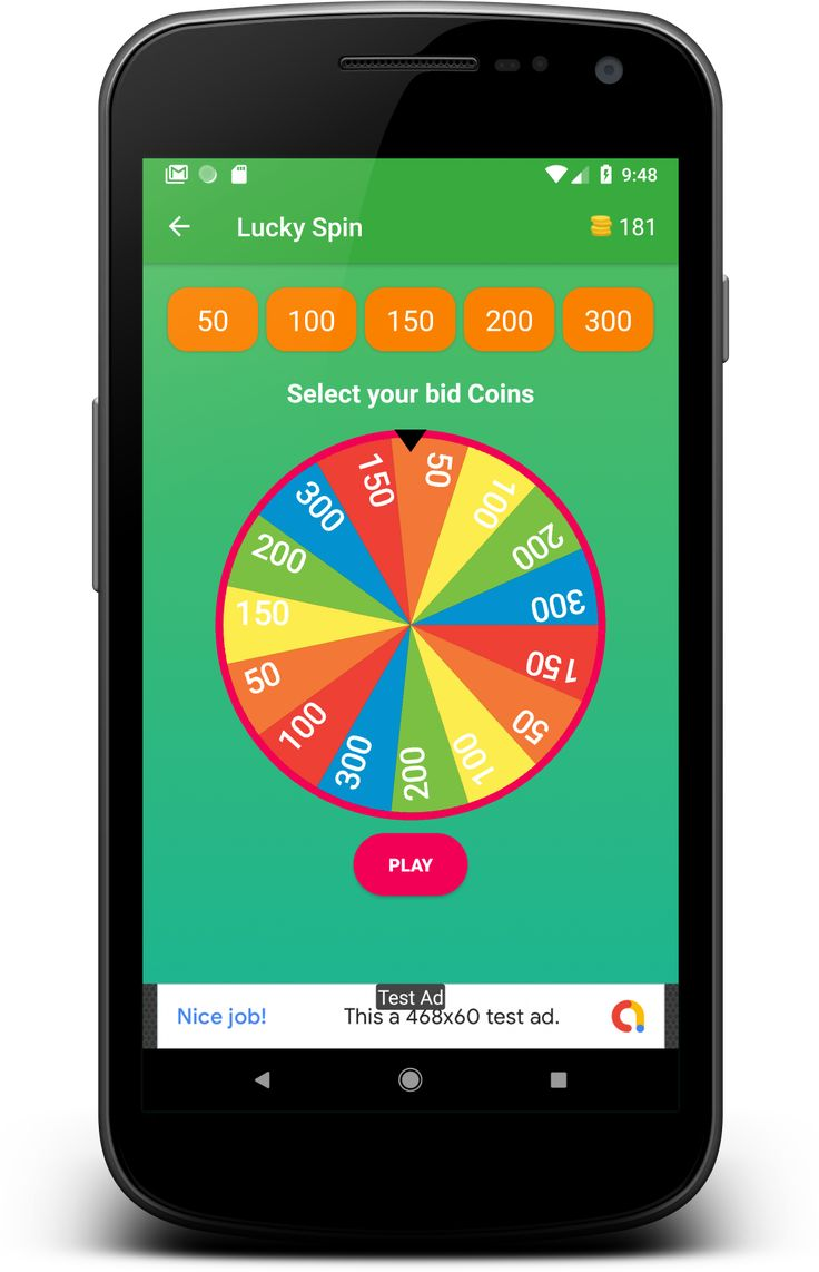 Android spin game app with reward points by offsettech ad