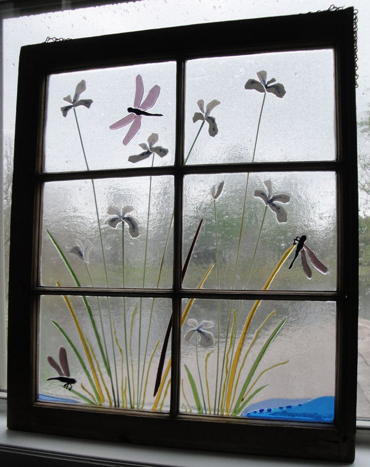 Fused Glass Iridescent Dragonfly and Iris Antique Recycled Window