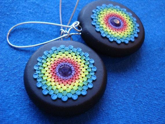 rainbow burst earrings. $22,00, via Etsy.