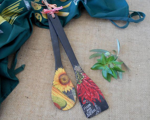 Rustic Kitchen Wall Decor  Wooden Spoons  Gifts by ArtFlyCreations