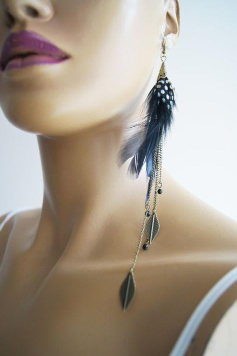 16987c541 Long Feather Earrings copper leaf and black #gift #shopping #etsy #ocean  #accessory #men #sale #handmade #shoes #bracelet #necklace #earrings #women  # ...