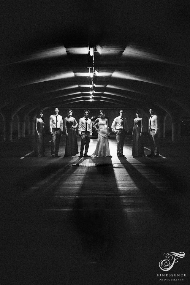 Kate and Wesley's wedding party in undergroup car park // Wedding photography work by Finessence // www.finessence.com.au