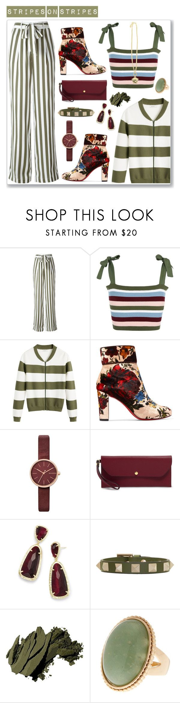 """""""Stripes"""" by hellodollface ❤ liked on Polyvore featuring Equipment, I'm Isola Marras, Sandwich, Christian Louboutin, Skagen, Henri Bendel, Kendra Scott, Valentino, Bobbi Brown Cosmetics and Versace"""
