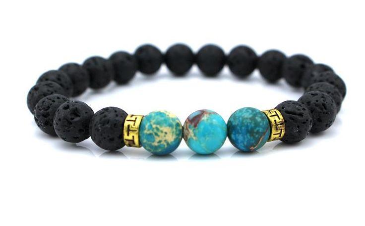 Nuevos productos venta al por mayor bolas de piedra de Lava pulsera de piedra natural, hombre de la joyería, pulsera Yoga Stretch