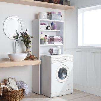 ランドリー空間にマッチする清潔感のある木製の洗濯機ラック。壁を傷つけずに洗濯機上に収納棚が簡単に作れます。ご自宅の洗濯機や防水パンのサイズに合わせて幅・奥行・高さをお選びいただけます。