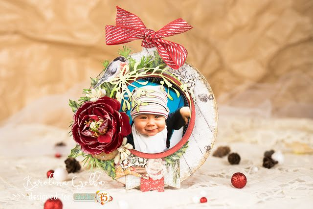 Christmas ornament with baby picture . #cardmaking #scrapbooking #christmas #ornament #card #studio75