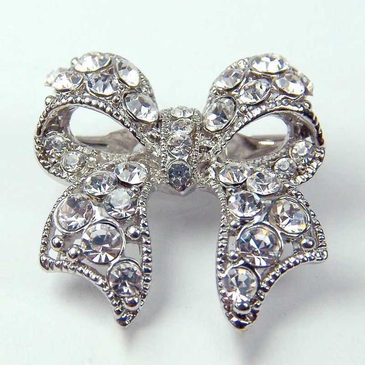 Bow Diamante Brooch