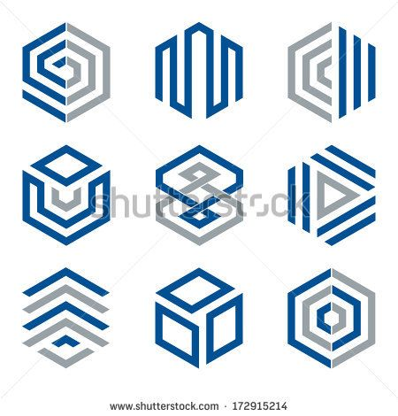 Hexagon shaped design elements 2. Abstract hexagonal vector symbols, blue and grey. by Oliver Hoffmann, via Shutterstock