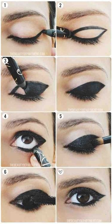 eye makeup tutorial | Tumblr Black with wing