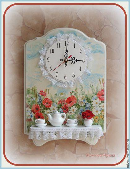 """Часы для дома ручной работы. Ярмарка Мастеров - ручная работа. Купить Часы панно с полочкой """"Луговые цветы"""". Handmade. Разноцветный"""