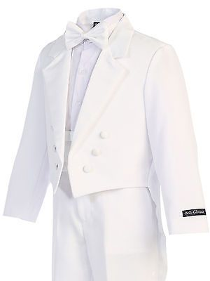 White Formal 5 Pieces Boy Kids Dress Suits Tuxedo with Tail