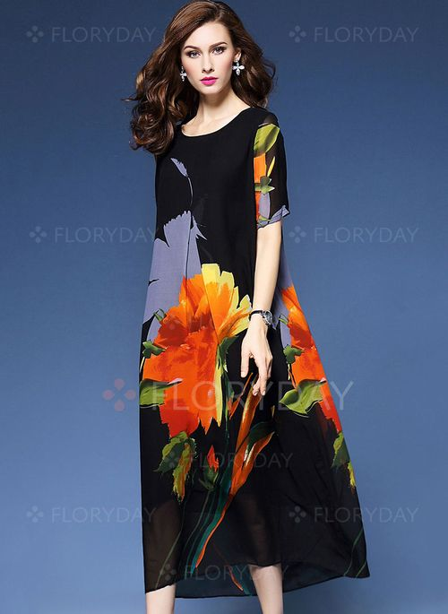 Dresses - $60.31 - Silk Floral Short Sleeve Mid-Calf Vintage Dresses (1955105562)