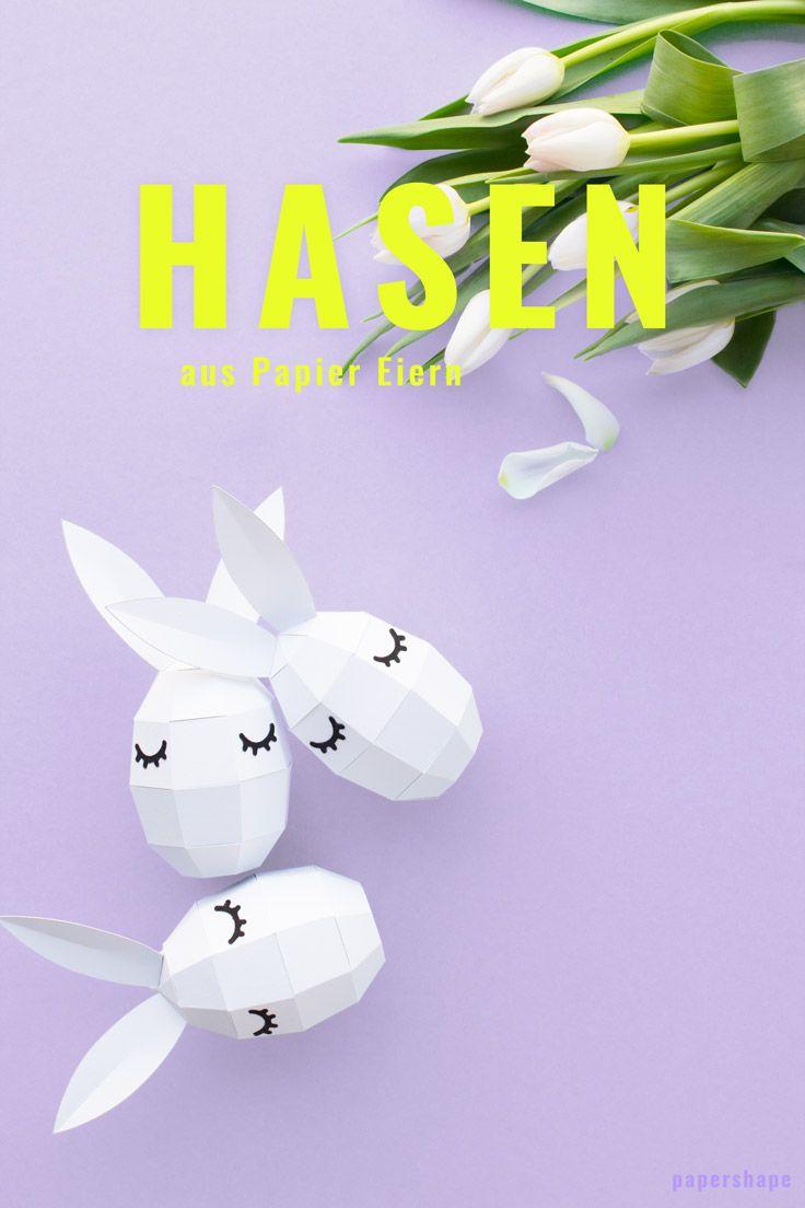 Papier Osterhasen mit süßen Wimpern basteln als Osterdeko / PaperShape #osterhase #osterdeko #ostereier #ostern #diy #papercraft #papershape